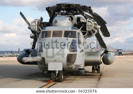 Heavy military transport helicopter - stock photo