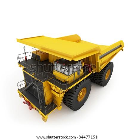 Heavy mining dumper isolated on white - stock photo