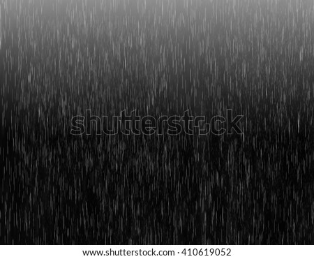 Heavy rain illustration on black background with light. Realistic rain drops illustration with dark and light colors. Rain drops on black. Spring autumn rain drops concept. - stock photo