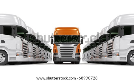 Heavy red trucks isolated on white - stock photo