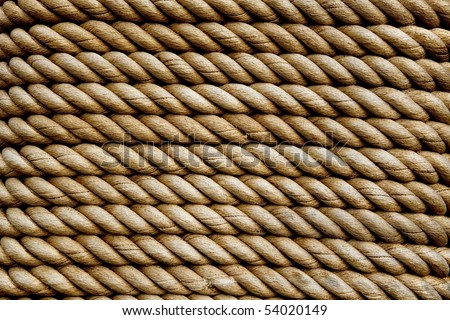 heavy rope texture background, rope wrapped around a pole as decoration - stock photo