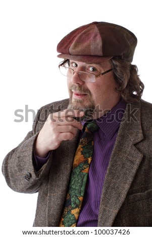 Heavy set middle-aged man with glasses, cap and tweed jacket strokes beard and smiles. Vertical, isolated on white, copy space. - stock photo