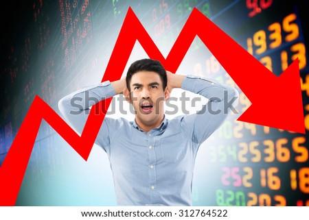 heavy shocked businessman checking data chart - stock photo