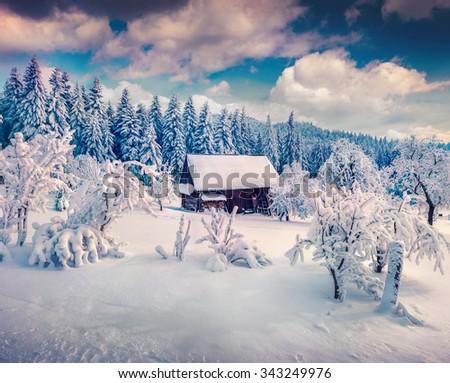 Heavy snowfall in the mountain village. Instagram toning. - stock photo