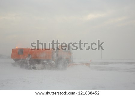 Heavy snowing at the airport, Prague - stock photo