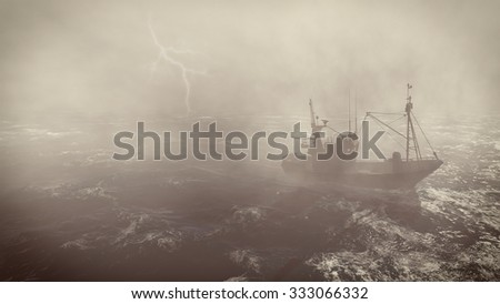 Heavy storm in the open sea with small fishing boat at foreground and with lightning flashes in the distance. 3D rendering file.