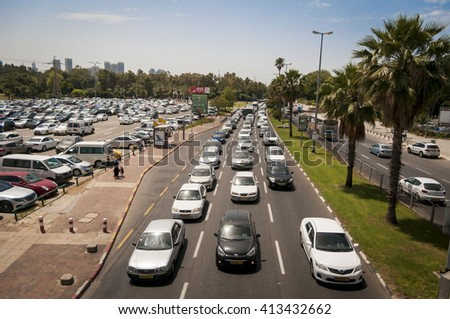 Heavy traffic in the central Tel Aviv (Rokach street). Israel, April 2016. - stock photo