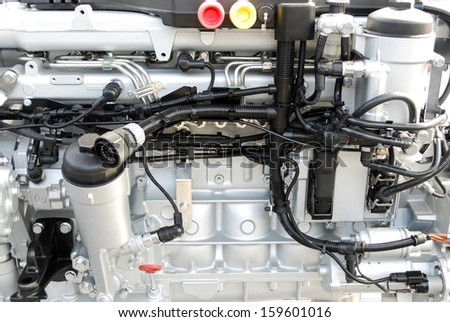 heavy truck engine close up - stock photo