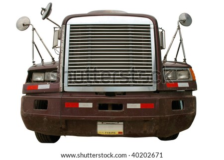 Heavy truck front view isolated on white background - stock photo