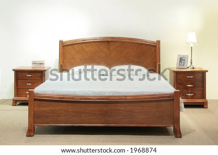 Heavy wood queen-size bed set with headboard and bedside table drawers