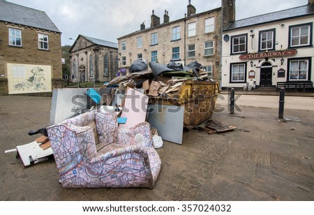 Hebden Bridge - DECEMBER 31: Aftermath of storm Eva after heavy and persistent rainfall created flooding and structural damage at the river Calder: December 31, 2015 in Hebden Bridge, UK.