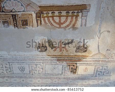 Hebraic city Susya fragment of mosaic floor of the ancient synagogue - stock photo