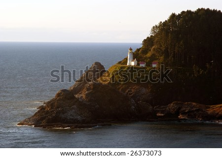 Heceta Head Lighthouse in Florence Oregon on a sunny day - stock photo