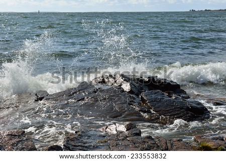 Hectic Baltic Sea. Splashes and foam - stock photo