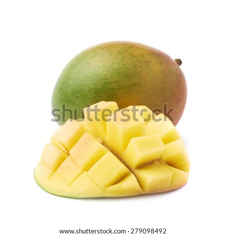 Hedgehog style served mango composition isolated over the white background - stock photo