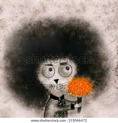 Hedgehog with flowers. Hand drawing illustration. - stock photo