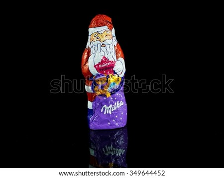 heidelberg, germany - december 10, 2015 - santa claus chocolate of milka - stock photo