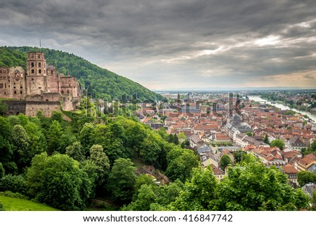 HEIDELBERG, GERMANY -  Sunset over the castle - stock photo