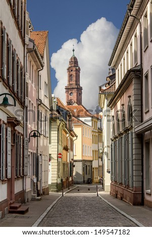 Heidelberg old city streets - stock photo
