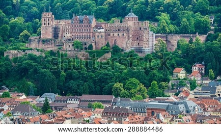 Heidelberg's old city as seen from the philosopher's way  - stock photo