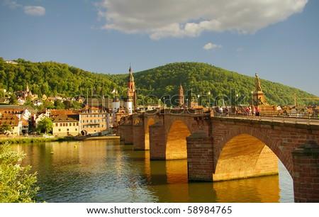 Heidelberger Old Bridge and river, summer 2010 - stock photo