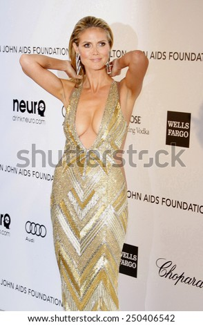 Heidi Klum at the 21st Annual Elton John AIDS Foundation Oscar Party held at the Pacific Design Center in West Hollywood on February 24, 2013. - stock photo