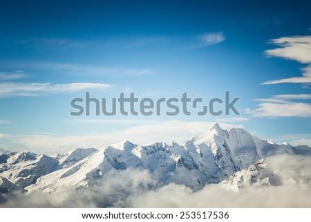 Heiligenblut ski resort in austrian Alps, View at the Grossglockner mountain  - stock photo
