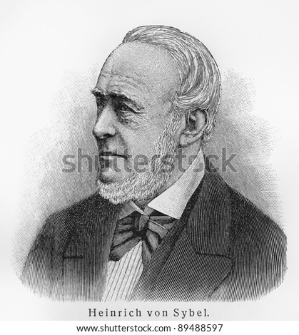 Heinrich von Sybel - Picture from Meyers Lexicon books written in German language. Collection of 21 volumes published  between 1905 and 1909.
