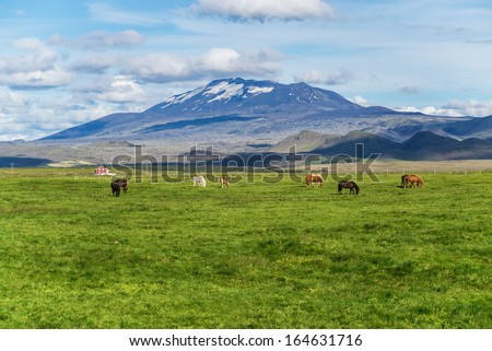 Hekla is a still active volcano, north of Hella - stock photo