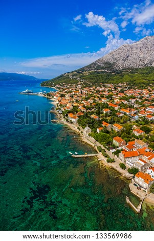Helicopter aerial shoot of famous tourist destination on Peljesac peninsula, Croatia