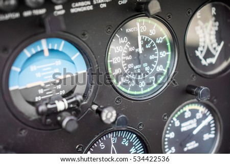 Helicopter Airspeed Indicator Gauge on an Instrument Panel