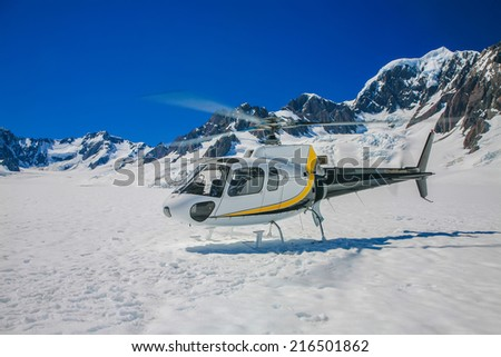 Helicopter at Winter Landscape of franz joseph, new zealand