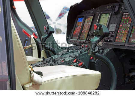 Helicopter cabin with panel, inside - stock photo