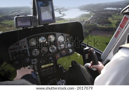 helicopter cockpit - stock photo