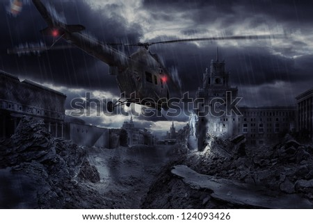 Helicopter flying at night over ruined Moscow city - stock photo