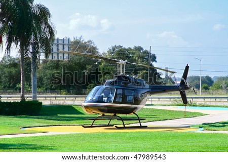 helicopter for sightseeing flight - stock photo