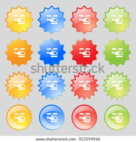 Helicopter icon sign. Big set of 16 colorful modern buttons for your design. illustration