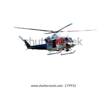 helicopter in the air over white background. - stock photo
