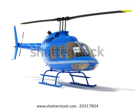 helicopter isolated on a white background (high resolution 3d rendered image) - stock photo