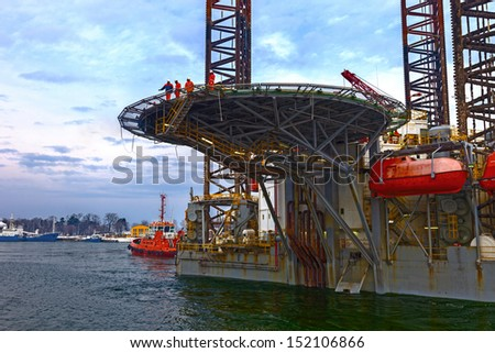 Helicopter landing pad on Oil Rig. - stock photo