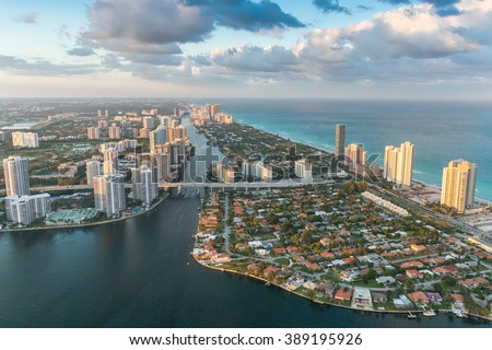 Helicopter sunset view of Miami Beach, Florida. - stock photo