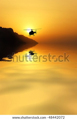 helicopter to return from the mission - stock photo