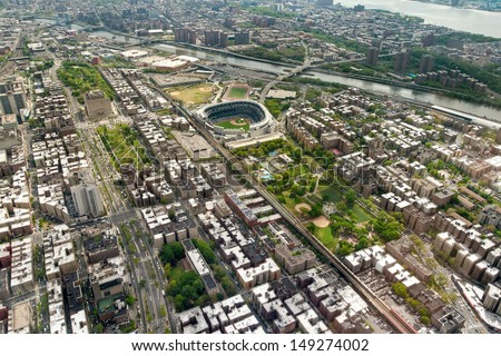 Helicopter view of Upper West side of Manhattan Yankees Stadium, New York, USA - stock photo