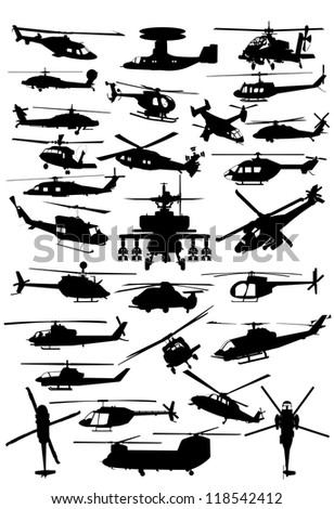 Helicopters collection - stock photo