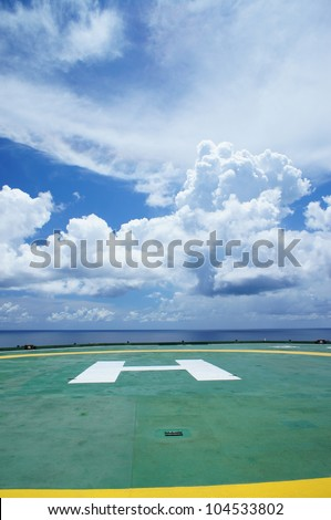 Helideck of Oil Drilling Rig - stock photo