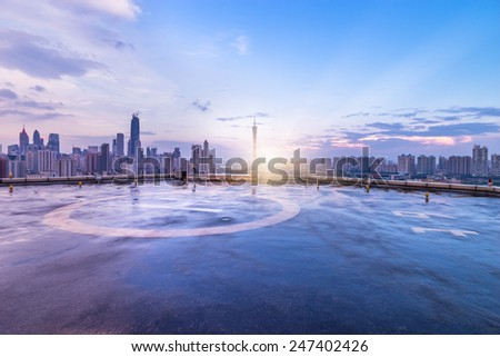 Heliport and skyline in guangzhou china. - stock photo