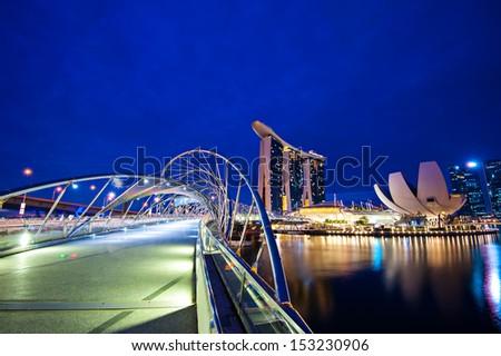Helix Bridge singapore travel Landmarks - stock photo