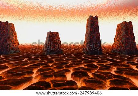 Hell Lava - stock photo