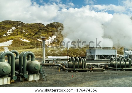 Hellishei�°i geothermal power plant in Iceland - stock photo