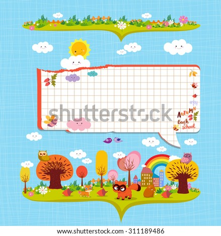 Hello autumn. Design elements for notebook. bubble note paper